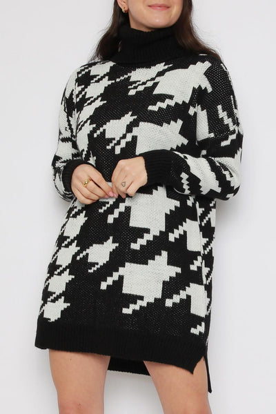 Houndstooth Roll Neck Jumper Dress