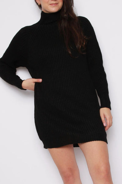 Balloon Sleeves Knitted Jumper Dress