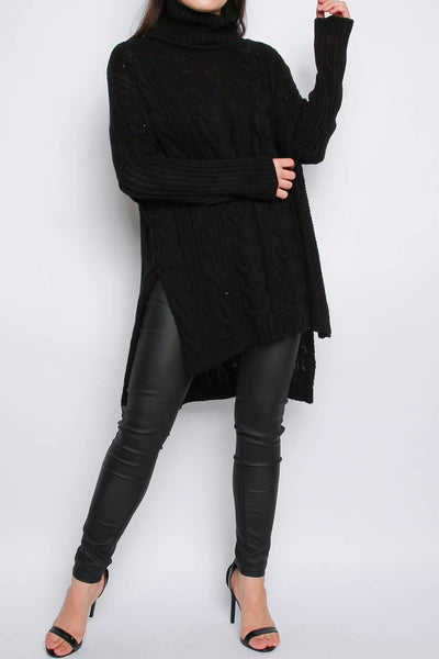 High Low Oversized Roll Neck Longline Knitted Jumper