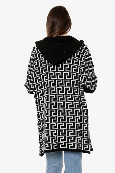 Geometric Hooded Knitted Cardigan