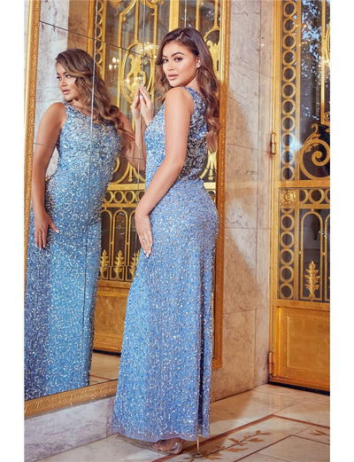 Blakely Blue All Over Sequin Gown Dress