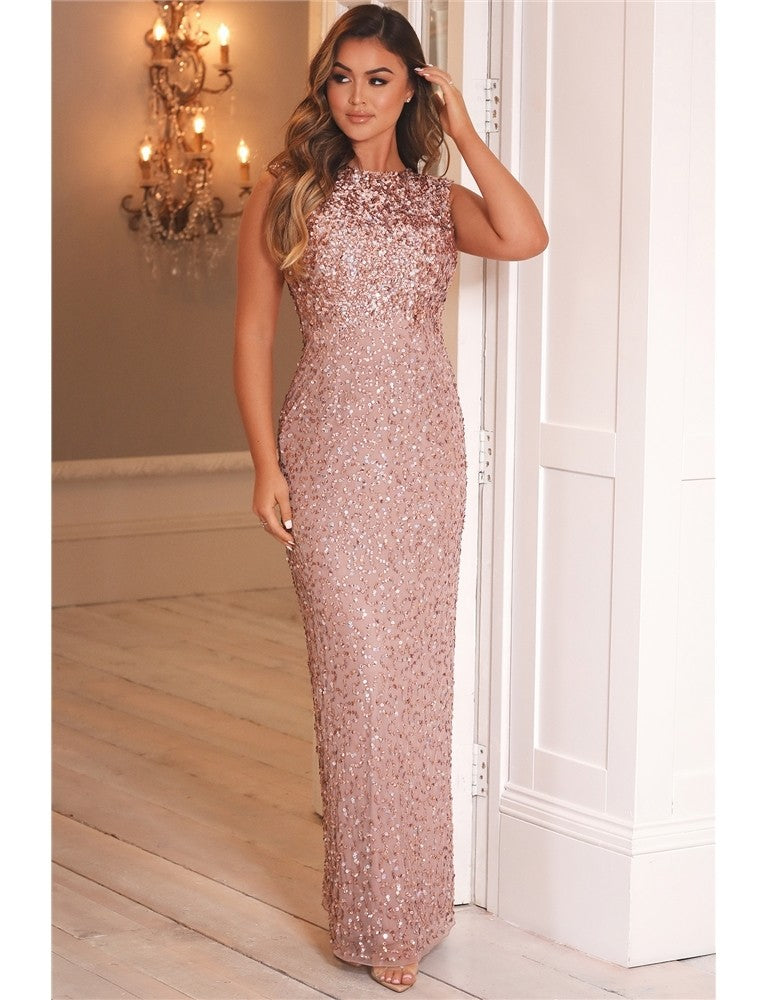 Blakely Rose Gold All Over Sequin Gown Dress