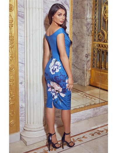 Deanne Teal Floral Bodycon Dress
