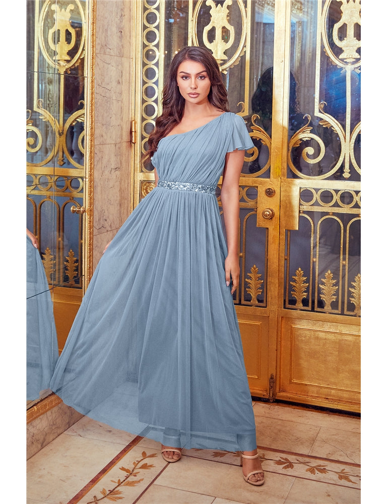 Mariah Blue One Shoulder Sequin Belt Maxi Dress