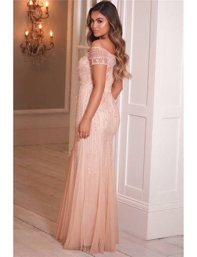 Callie Blush Off The Shoulder All Over Beaded Maxi Dress