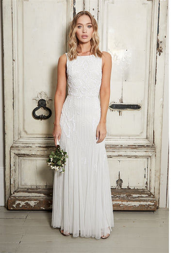 Gracey White High Neck Maxi Dress
