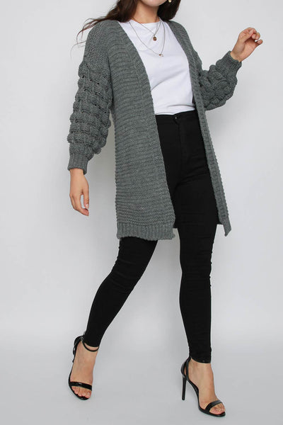 Bobble Sleeve Knitted Cardigan