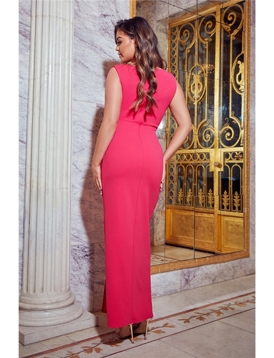 Chrome Hot Pink V-Neck Knot Front Maxi Dress
