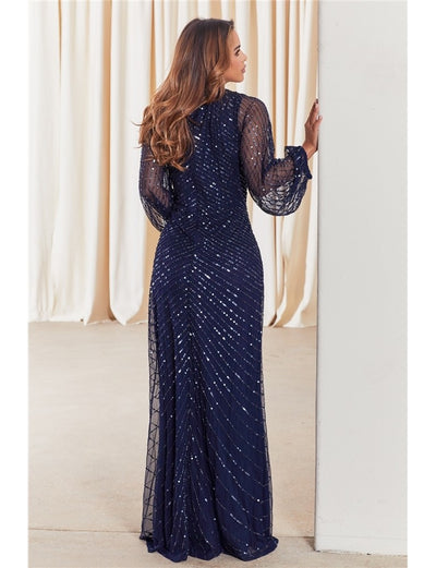 Daisianne Navy Embellished Long Sleeve Wrap Maxi Dress