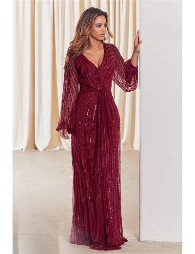 Daisianne Berry Embellished Long Sleeve Wrap Maxi Dress