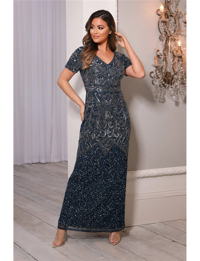 Lorie Navy Embellished Short Sleeve Maxi Dress