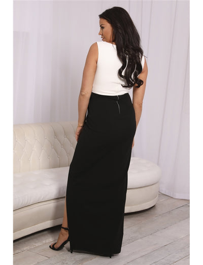 Jessica Wright Monochrome Knot Front Maxi Dress