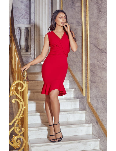 Anthi Red Frill Midi Dress
