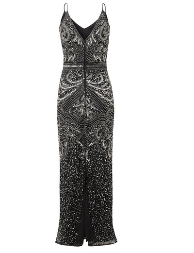 Jessica Rose Flory Black Silver Beaded Maxi Dress
