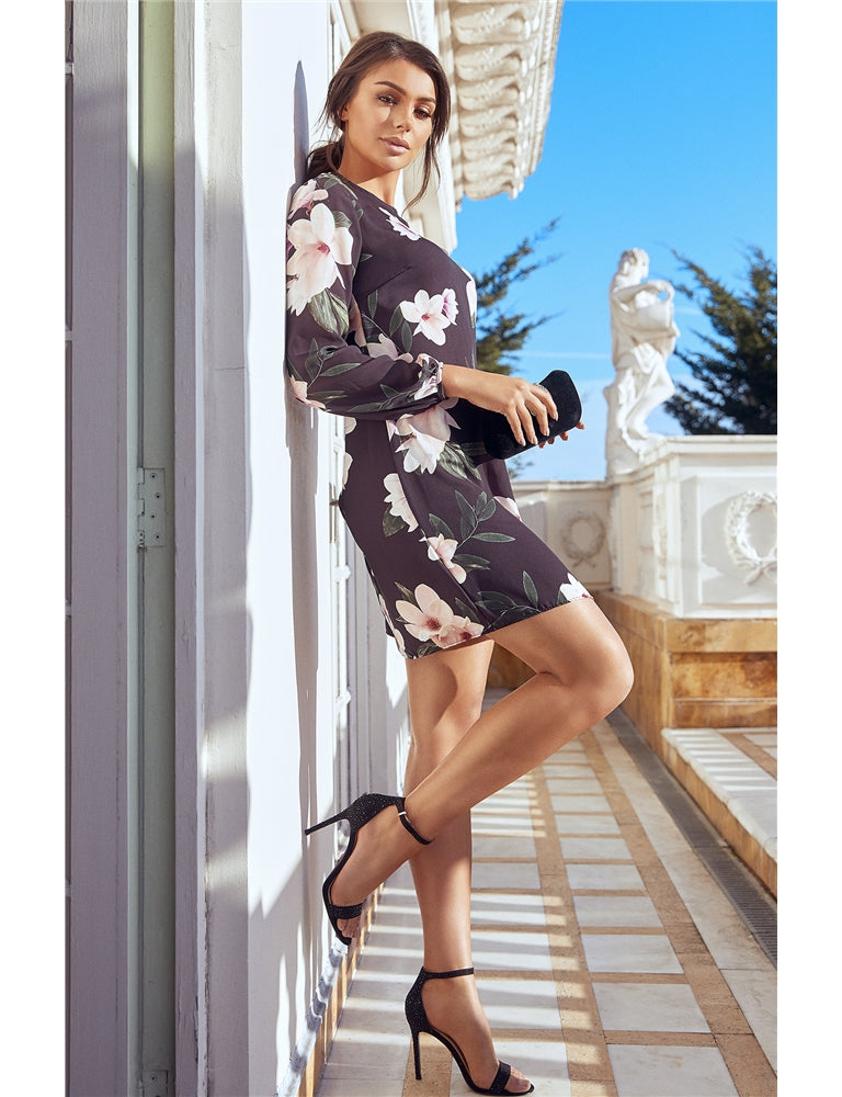 Jezz Black Floral Long Sleeve Shift Dress