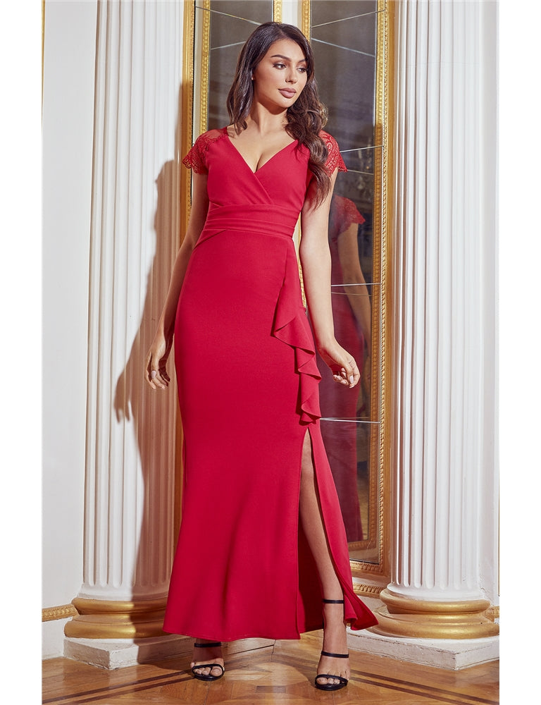 Belmain Red Lace Frill Side Slit Maxi Dress