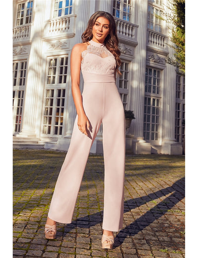 Nerida Blush Lace Top Jumpsuit