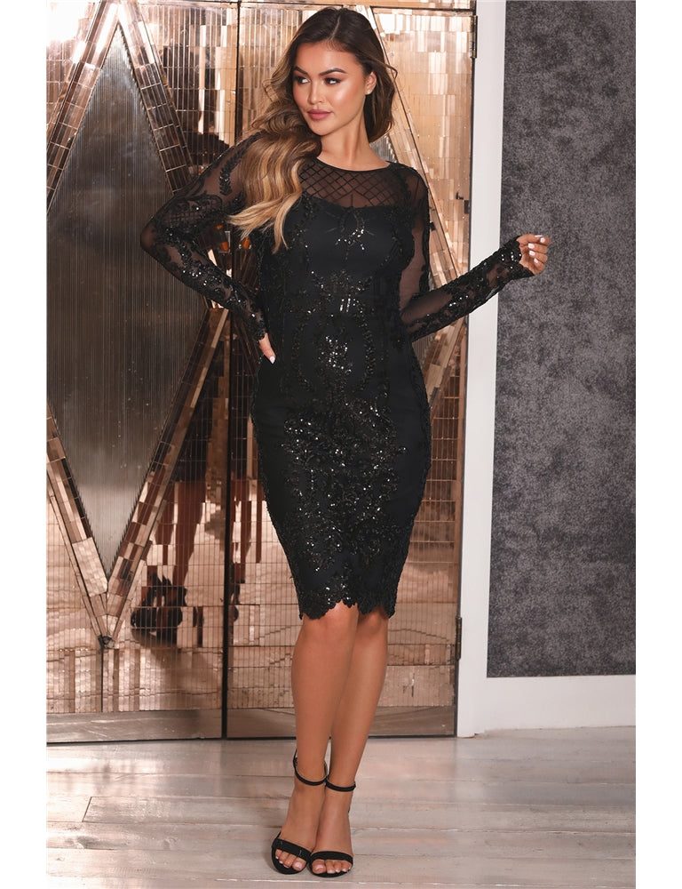 Fayre Black Sequin Mesh Long Sleeve Midi Dress