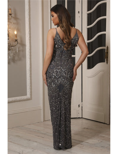 Special Edition Jessica Rose Flory Charcoal Beaded Maxi Dress