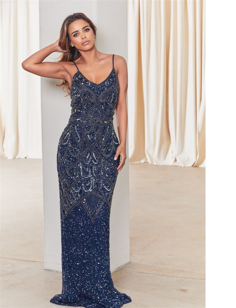Edición Especial Jessica Rose Flory Navy Beaded Maxi Dress