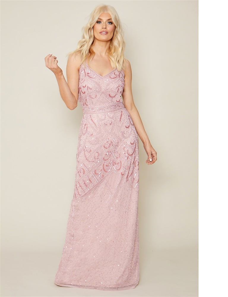 Flory Dusky Pink Embroidered Maxi Dress