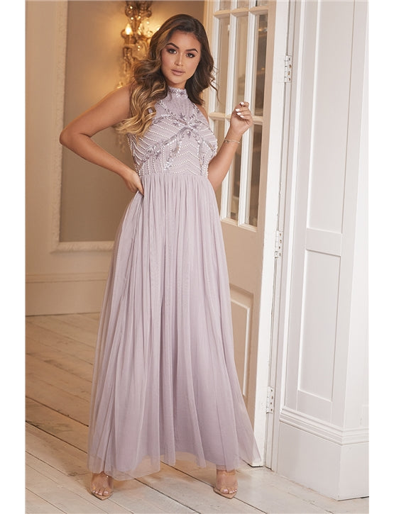 Halley Lilac Embroidered Beaded Maxi Dress