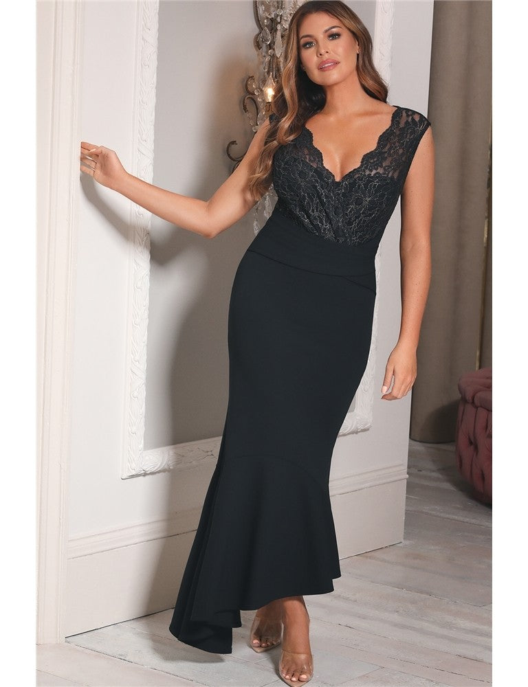 Harvey Jessica Wright Two-Tone Black/Gold Lace Frill Hem Midi Dress