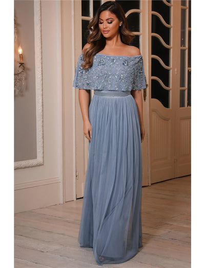 Iriana Blue Off The Shoulder Maxi Dress