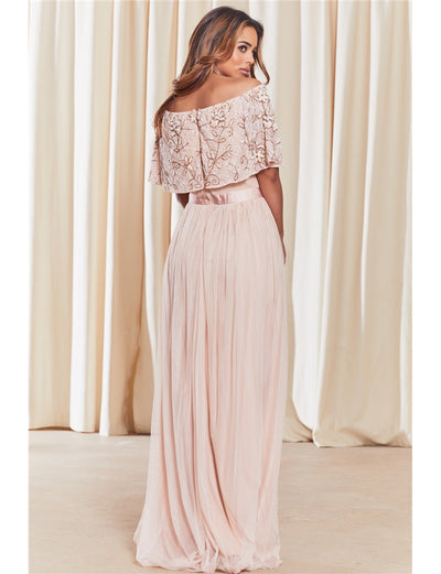 Iriana Pink Off The Shoulder Maxi Dress