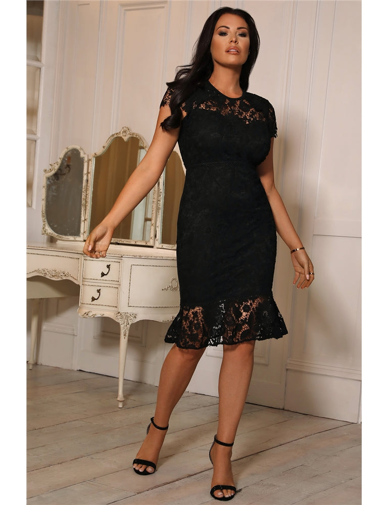 Robe Jessica Wright Jenna Black Lace Midi
