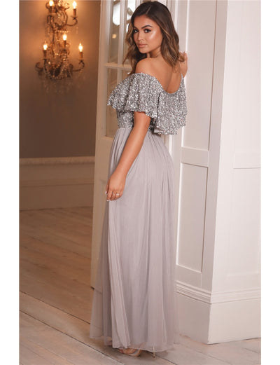 Kendall Silver Off The Shoulder Sequin Bardot Maxi Dress