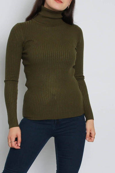 Roll Neck Ribbed Knitted Jumper