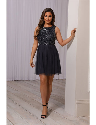 Makayla Charcoal Sequin Dress