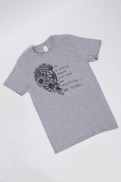 Be Kind Heart T-Shirt in Grey