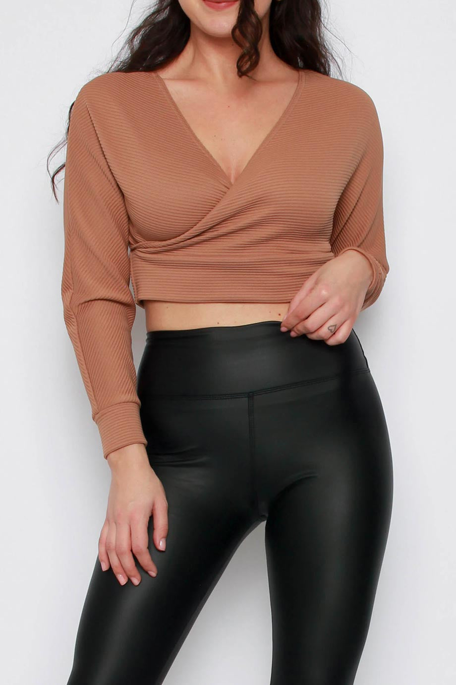 Batwing Long Sleeve Ribbed Cropped Top