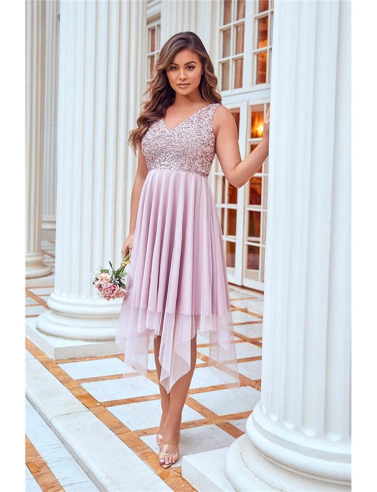 Melli Pink Sequin Top Midi Dress