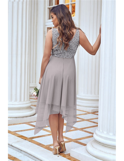 Melli Grey Sequin Top Midi Dress