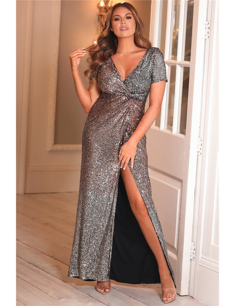 Jessica Wright Orabelle All Over Sequin Slit Maxi Dress