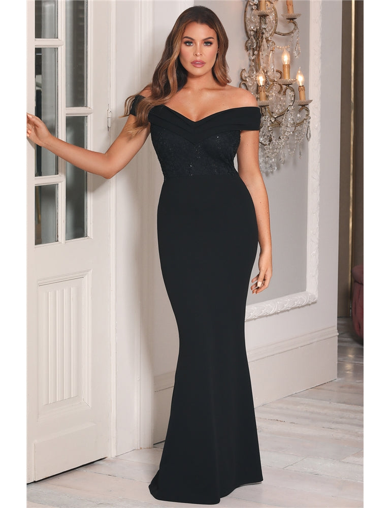 Jessica Wright Penney Black Off The Shoulder Maxi Dress