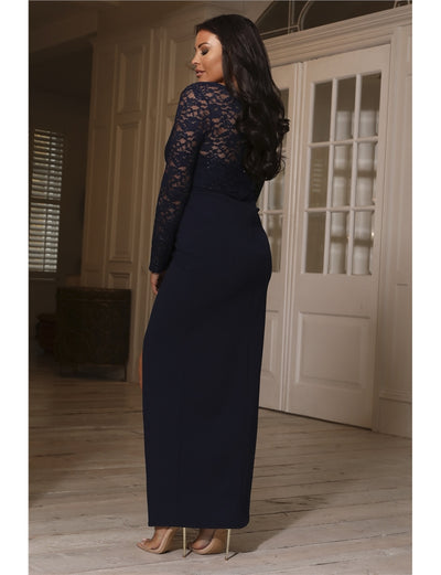 Jessica Wright Poli Navy Long Sleeve Lace Maxi Dress