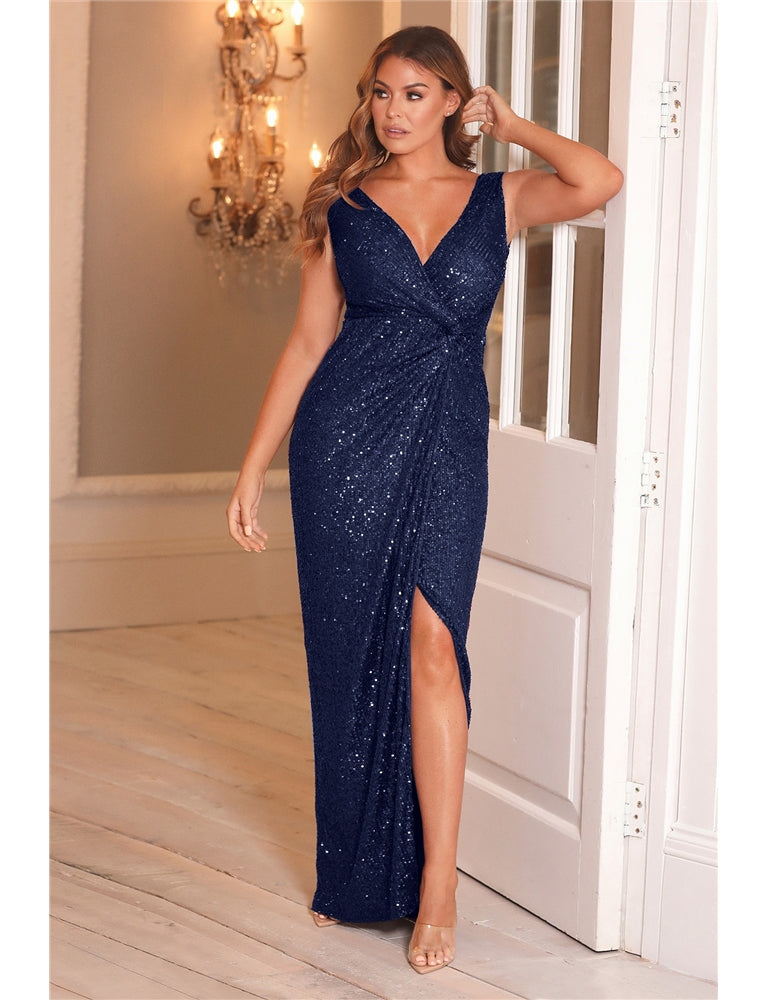 Jessica Wright Sandra Navy All Over Sequin Maxi Dress
