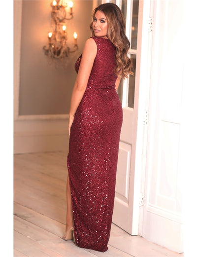 Jessica Wright Sandra Berry All Over Sequin Maxi Dress