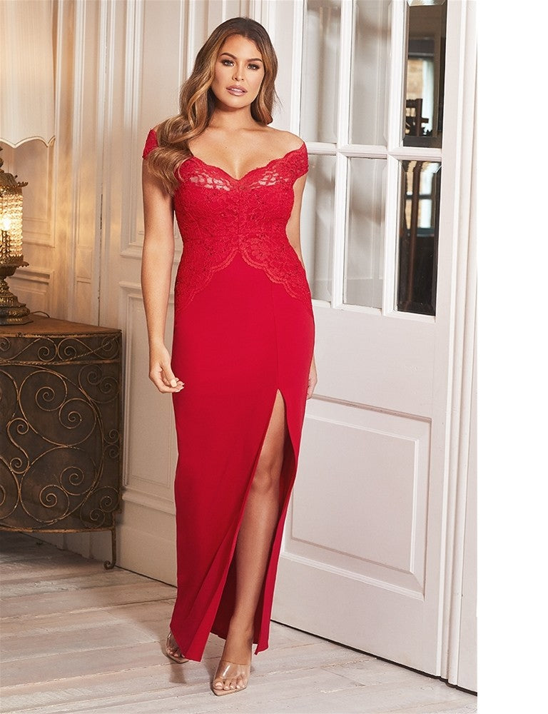 Santianna Jessica Wright Petite Red Lace Embroidered Maxi Dress