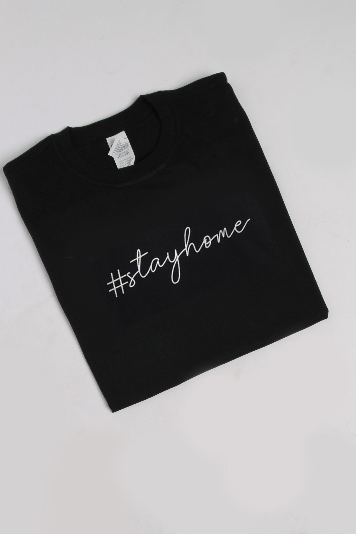 Stay Home Slogan T-shirt in Black