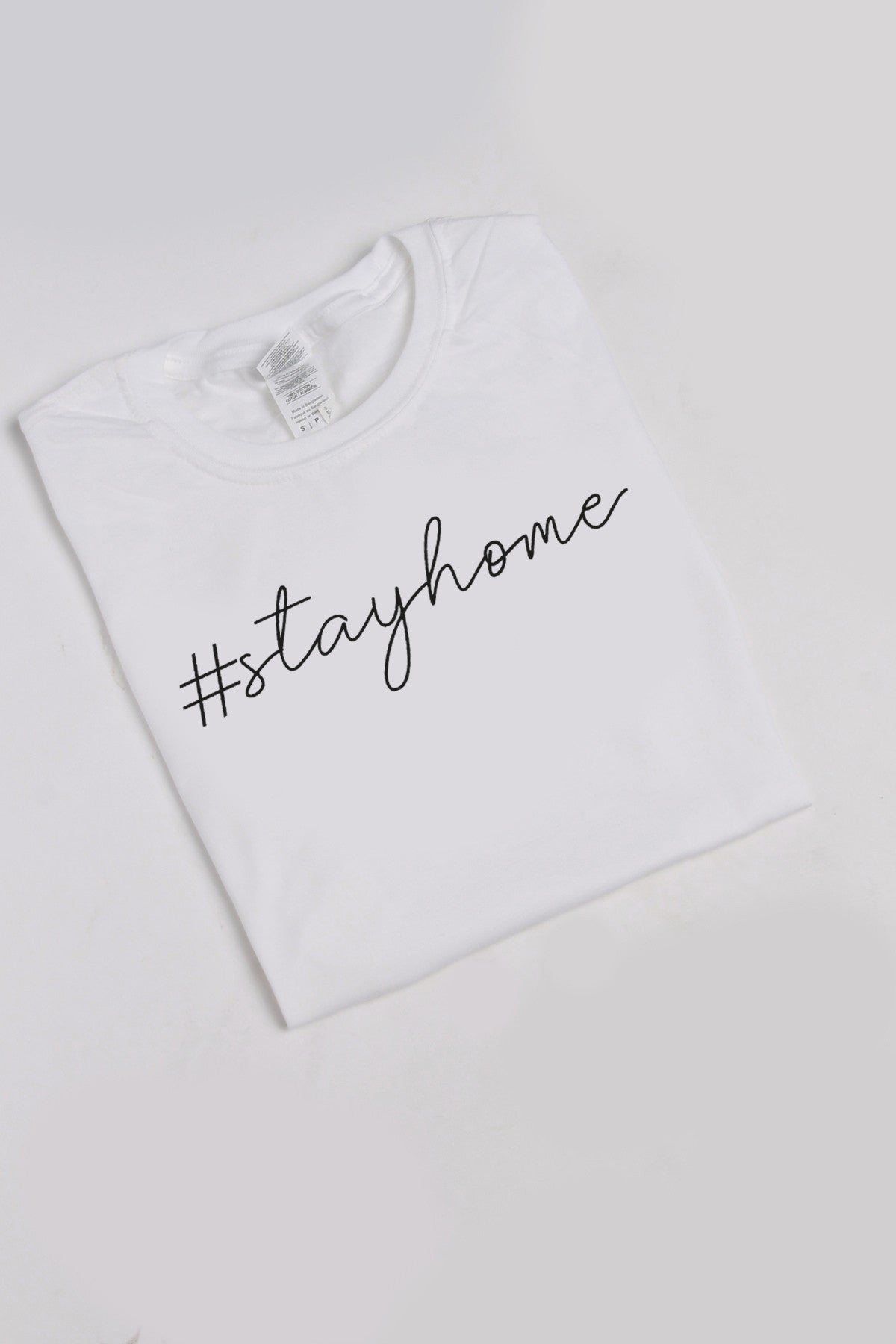 Stay Home Slogan T-shirt in White