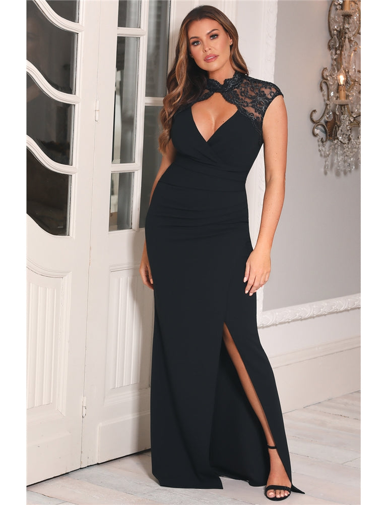 Jessica Wright Sula Black Lace Neck Maxi Dress
