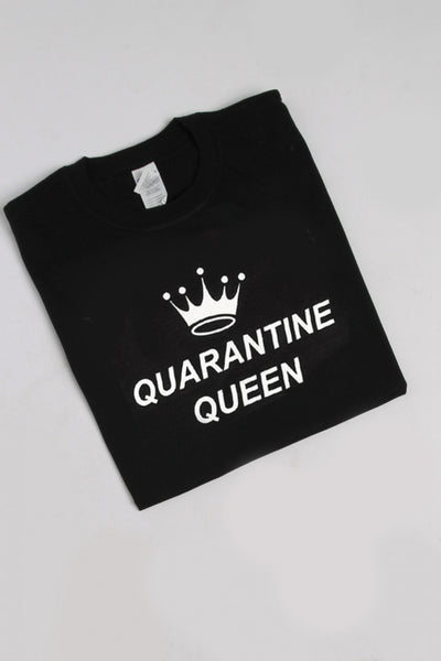 Quarantine Queen Slogan T-shirt in Black