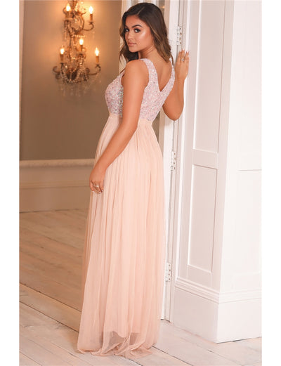 Yasmin Blush Sequin Top Tiered Maxi Dress