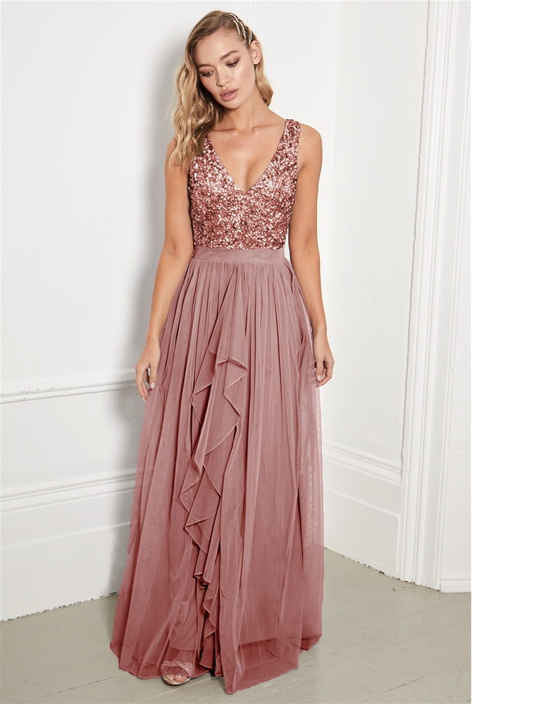 Yasmin Rose Gold Sequin Top Tiered Maxi Dress