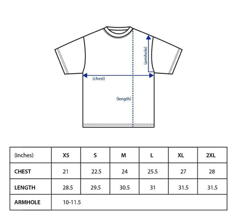 Calling All Captains - Blue Sky Tees Size Chart